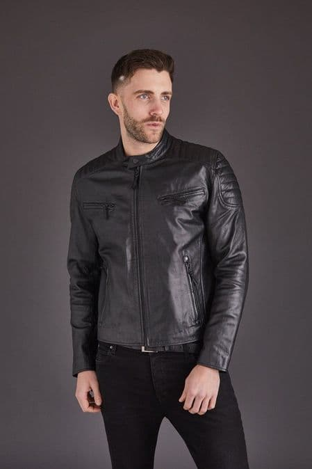Men's Leather Biker in Black: George